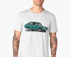 classic car from the UK, the Morris Marina Coupé print t-shirts. Morris Marina, Car Illustration, Retro Cars, Car Humor, Classic Cars, Light Blue, T Shirt, Mens Tops, Cutaway