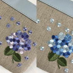 紫陽花、色違い  アジサイ、#刺繍 #embroidery #hydrangea