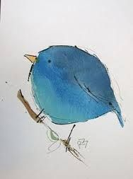 Resultado de imagen de Bird flower blue ocher illustration