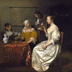 Flemish garden Jacob Ochtervelt - Cavaliers and Ladies at a Table; 1660-1670. oil on canvas. North Carolina Museum of Art, Raleiigh