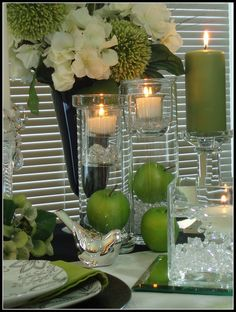 White, Black & Apple Green Table by dining delight, via Flickr