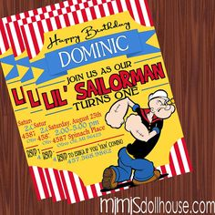 Popeye Invitation- Printable Popeye the Sailorman Birthday Party Invitation PDF/JPEG
