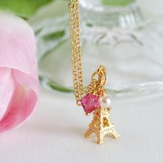 Mothers Day Gift, Charm Necklace - Gold Plated - Pink Crystal and Ivory Pearl - Gold Plated Chain - Gift For Young Girl.