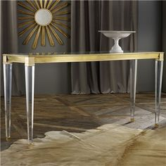 Glass top, clear legs. Modern History Home SoHo Console Table
