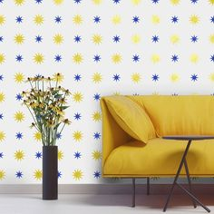 Modern Wall Stencil | Starry Night Polka Stars | Royal Design Studio --- this stencil in gold on a wall in my office??