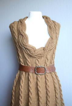 Hand knit cable dress woman by woolpleasure on Etsy, $300.00