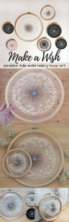 So cool! These dandelion embroidery hoop art pieces are amazing! I wonder if I could make one myself?! Such a great idea! #etsy #ad
