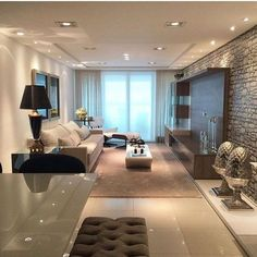 Excellent Contemporary Living Room Decor Idea Try For You 27 Living Room Interior, Home Living Room, Living Room Designs, Living Room Decor, Living Room Theaters, Condo Living, House Design, Roof Design, Interior Design