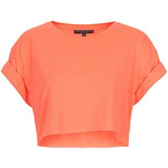 TOPSHOP Petite Roll Back Tee ($10) ❤ liked on Polyvore featuring tops, t-shirts, shirts, crop tops, fluro orange, petite, petite tops, orange t shirt, petite shirts and petite t shirts
