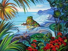 Irina Velman Irina Velman is a West Auckland artist whose paintings can be found in private collections throughout the world. Known for her distinctive style and vibrant colours, Irina's inspiration comes from the dramatic beauty of New Zealand. Irina S, New Zealand Art, Nz Art, Maori Art, Kiwiana, Chocolate Box, Amazing Art, Vibrant Colors, Fine Art Prints
