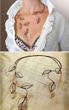 Necklace, foliage, Jewelry, copper jewelry, Wire Wrap, Copper,  jewelry set, bracelet, collar: