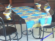 African handmade runner with 4 napkins by kuutungas on Etsy