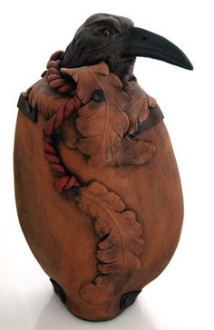 "Paul Portelli, ""Emerge"" Hand-built terra cotta with cold finish. Crow Art, Raven Art, Raven Spirit Animal, Hand Built Pottery, Crows Ravens, Gourd Art, Ceramic Art, Art Dolls, Images"