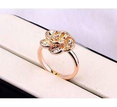 cristal idea de regalo present Elegantes señora de lujo anillo Rose Gold 18k PL