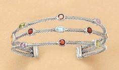 Rhodium Plated Sterling Cuff Bracelet, 1 inch wide, Citrine/Peridot/Garnet/Amethyst/Topaz,7-1/2 in Silver Messages. $198.99