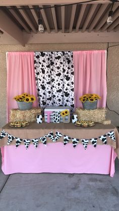 2nd Birthday Party For Girl, Rodeo Birthday, Farm Animal Birthday, Second Birthday Ideas, Farm Birthday, Cow Print Birthday, Farm Themed Party, Farm Party, Cow Baby Showers