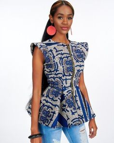 Add this beautiful African print handmade Ankara structured peplum jacket to your collections and be sure to own any room. African Print Peplum Top, Ankara Peplum Tops, African Print Fashion, African Fashion Dresses, African Prints, African Clothing Stores, Ankara Styles For Men, African Blouses, Modern Tops