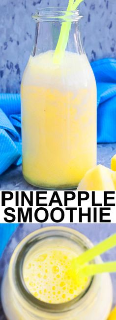 This quick and easy fresh PINEAPPLE SMOOTHIE recipe is made with yogurt, milk and frozen pineapples. It's a tropical healthy breakfast smoothie or post workout snack. From cakewhiz.com