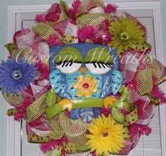 Easter / Spring RAZ Owl Wreath by CustomWreathsAndMore on Etsy, $65.00