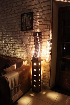 La Jambière : coffee caps and cardboard lamp in lights jewelry cardboard  with Nespresso Light Lamp Cardboard Caps