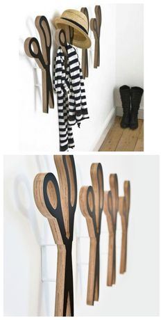 Scissors wall hooks