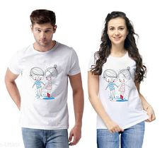 Couple Tshirts Trendy Couple T-Shirts Fabric: Semi Cotton  Sleeves: Half Sleeves Are Included Size: S - 36 in M - 38 in L - 40 in XL - 42 in XXL - 44 in Length: Up To 26 in Type: Stitched Description: It Has 2 Pieces Of T-Shirts Work: Printed Country of Origin: India Sizes Available: S, M, L, XL, XXL   Catalog Rating: ★4.1 (3362)  Catalog Name: Briar Standard Semi Cotton Couple T-Shirts Vol 1 CatalogID_101982 C79-SC1940 Code: 414-875851-