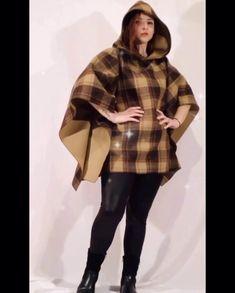Wool Poncho, Plaid Scarf, Fur Coat, Woman, Jackets, Fashion, Down Jackets, Moda, Fashion Styles