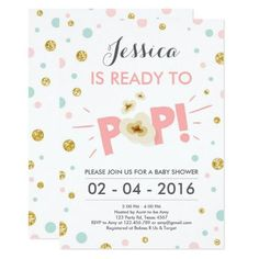 #Valentines #AdoreWe #Zazzle - #Zazzle Ready to Pop Baby Shower invitation Mint Pink Gold - AdoreWe.com