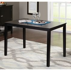 Overstock $129 Simple Living Shaker Black Dining Table