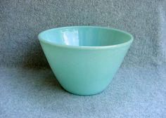 """Fire King Mixing Bowl Turquoise 7 3/4"""" Signed Anchor Hocking Oven Ware Vintage Kitchen Depression Glass 1940's"""