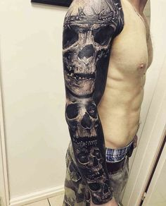 125 Best Skull Tattoos For Men: Cool Designs + Ideas Guide) - Full Sleeve Skull Tattoo – Best Skull Tattoos For Men: Cool Skull Tattoo Designs and Ideas For Gu - Full Tattoo, Full Sleeve Tattoo Design, Skull Tattoo Design, Cover Tattoo, Skull Sleeve Tattoos, Sugar Skull Tattoos, Best Sleeve Tattoos, Body Art Tattoos, Tattoos Pics