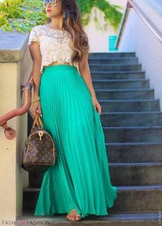 Lace crop top with a flowy maxi skirt. Clever and pretty