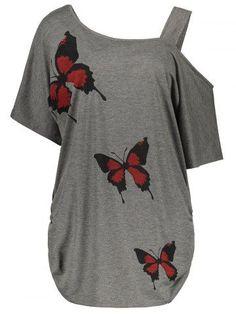 28af85feb8c Cold Shoulder Butterfly Print Plus Size Top - Gray - 2xl