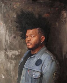 """Artist: Shawn Barber """"Portrait of the Artist, Henry Lewis, with Black Panther""""  Oil on Canvas 30"""" x 24"""" 2015-2016"""