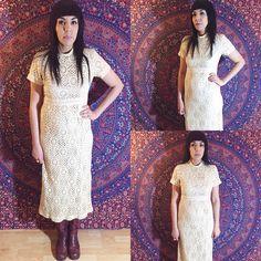 Vintage 60s Bohemian Mod Cream Mandarin Collar Crochet Lace Maxi Dress M $195.00  https://www.etsy.com/listing/256653258/vintage-60s-bohemian-mod-cream-mandarin
