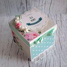 Miętowo-różowy exploding box z niespodzianką w środku ----- Mint and pink birthday exploding box