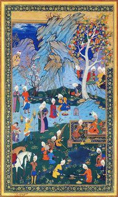 Night Banquet (16th Century CE Islamic Safavid (?) Miniature Painting, Persia…