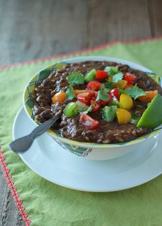 Crock Pot Black Bean + Rice Soup