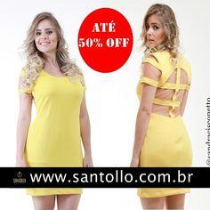 Vestidos com detalhe em tule e tiras nas costas. Cores disponiveis, amarelo, pink e laranja, a cor do verão 2015. Últimas pecinhas por apenas 3x  55, 98 . Acesse já nossa loja virtual e garanta o seu. www.santollo.com.br  Siga nos no instagram: @sandracisconetto #vestidofashion #blogs #fashion #moda #modajovem #modamineira #uberaba #minasgerais #aquitem #novidades #looks #styles #newcollections