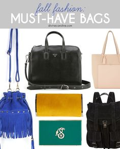 This fall is all about classic bags in bright, bold colors. Check out our favorites for fall. #fallbags #purses #divinecaroline