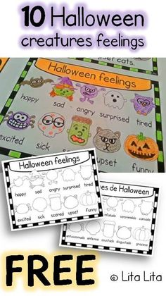FREE 10 Halloween creatures feelings English & Spanish