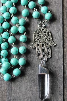 TURQUOISE HAMSA QUARTZ POINT NECKLACE $30 - Jewelry  Necklaces,  Beaded Necklaces,  Hamsa Jewelry,  Hamsa Charm,  Jewish Jewelry,  Hamesh Jewelry,  Hamsa Necklace, Beaded Necklace,  Judaism Gifts,  Protection Jewelry,  Jewish Gifts,  Green Jewelry,  Turquoise Necklace,  Turquoise Jewelry, Genuine Turquoise, Silver Quartz Necklace,