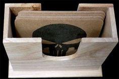 Punisher Skull Wood Varnished Quality New 4 Bar Coaster Set Holder Gift COA-0086