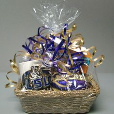 LSU Gift Basket Wrapping Gift Baskets, College Gift Baskets, Gift Baskets For Men, Themed Gift Baskets, Raffle Baskets, College Gifts, Boyfriend Care Package, Silent Auction Baskets, Boyfriend Gift Basket