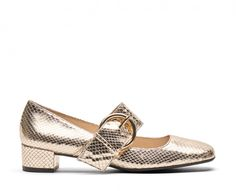 Metallic leather mary jane with covered heel and gold hardware.