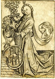After: Master ES biographyPrint made by: Israhel van Meckenem --Lady with helmet and coat of arms. c. 1470 Engraving