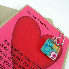 Teacher gift Teacher Valentine, Teacher Gifts, Valentines Day, Valentine Ideas, Green Necklace, Stuff To Do, New Recipes, Dog Tag Necklace, Unique Jewelry