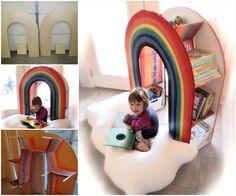 Rainbow Reading Centre Book shelf. What a fabulous idea!