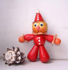 Vintage Soviet Wooden Toy Doll. Red Clown. Child Room Decor.