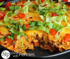 Layered Doritos Casserole! Love it? Pin it to your DINNER board to SAVE it! Follow Spend With Pennies on Pinterest for more great recipes! This casserole was DELICIOUS!! And yes, it is okay to have Doritos for dinner once in a while, especially in this recipe!! (Plus we topped it with lettuce & tomatoes, that's …